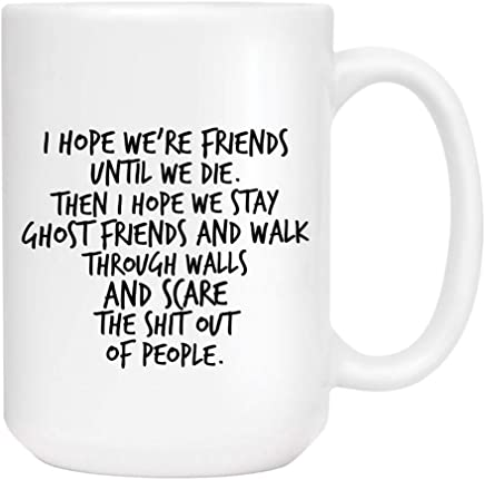Best friend Besties Coffee Mug - Cute Sarcastic Funny Cup for Men or Women - Unique Fun Gifts for Mom, Dad, Sister, Brother, Best Friend, Him, Her under $20 - Handmade Printed in the USA 15oz