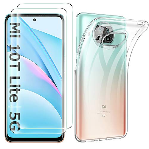 iBetter Diseño para Xiaomi Mi 10T Lite 5G Protectora Funda, TPU Transparente + Protector de Pantalla [2 Paquete],Funda para Xiaomi Mi 10T Lite 5G Smartphone.Transparente