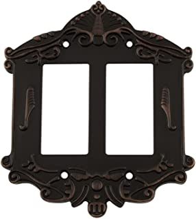 Nostalgic Warehouse 719654 Victorian Switch Plate with Double Rocker, Timeless Bronze