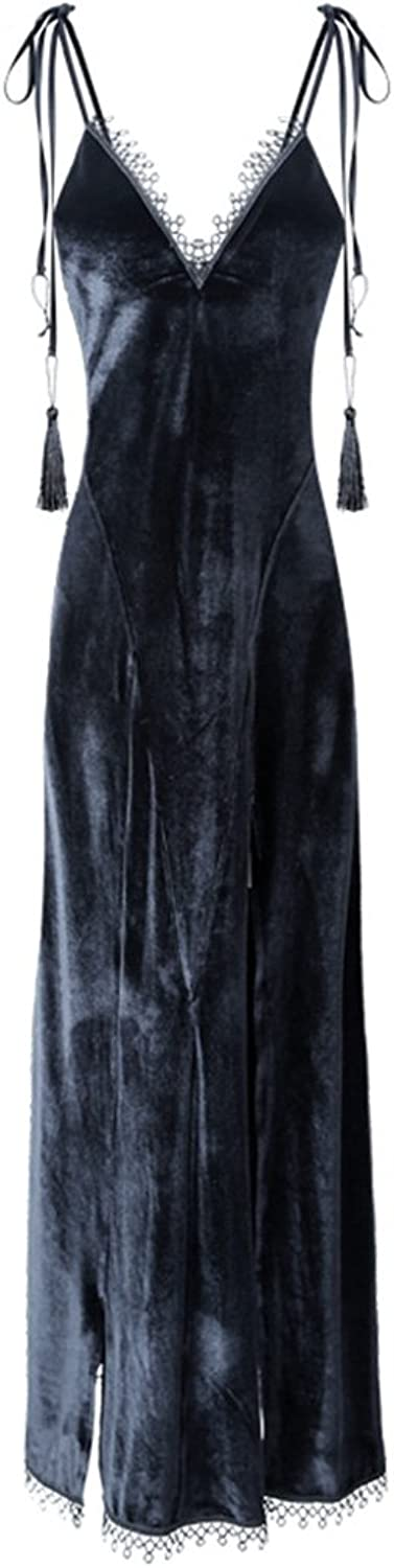 GJM Shop Autumn and Winter Female Black Backless Sling Nightdress Tracksuit Long Skirt Bathrobe (Size   M)