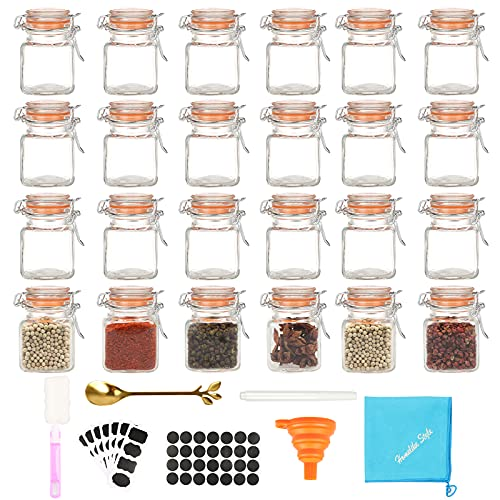 Small Glass Spice Jars, with Airtight Flip Top Lids