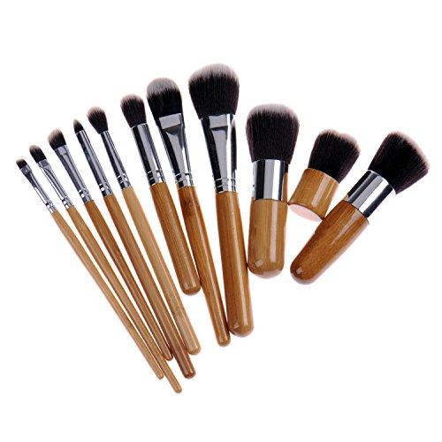 11 pcs Lot de brosse de maquillage Poignée en bambou synthétique Fond de teint blending Blush Concealer Eye visage Pinceau cosmétique avec peigne à sourcils