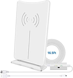 Digital HD TV Antenna, CIYOYO Indoor HDTV Antenna 160 Miles Long- Range Reception with Amplifier Signal Booster, Support 4K HD UHF VHF Local Channels-16.5 ft Coax Cable for Fire TV Stick