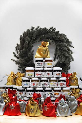 ADVENTSKALENDER MARMELADE I hausgemacht und handgefertigt I Marmeladen-Haus I Fruchtaufstrich I 24x 40g verschiedene Sorten I vegan glutenfrei laktosefrei
