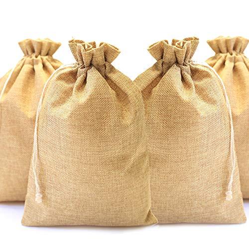 DAHI - Bolsas de yute (12 unidades, 20 x 30 cm), color marrón oscuro