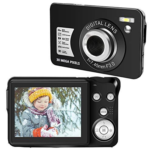 Appareil Photo Numérique Appareil Photo Compact Numérique 1080P 30 MP Appareil Photo Numérique Pas Cher Écran LCD 2,7 Pouces Zoom Numérique 8X Mini Camera pour Adultes, Enfants, Débutants