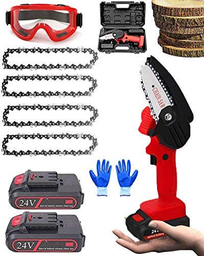 SHENGZHI Mini motosierra de 4 pulgadas 24 V Protable con tablero anti salpicaduras, sierra de poda de árbol a batería, para cortar madera, color rojo