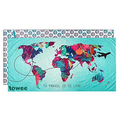 Towee praktische mikrofaser Handtücher - Schnelltrocknendes Microfaserhandtuch - Mikrofaser Reisehandtuch mit Motiv - Perfektes Strandhandtuch für Fitness und Outdoor, 80 x 160 cm (Travel The World)