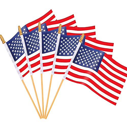 65 Pack Wooden Stick American Flags Hand Held Mini US Flags for American Independence Day (4x6 Inches)