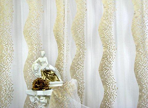 Trendoro 1 Gardine *Golden Wave* Gardinenschal 170 x 260 cm, Farbe: Voile Weiss, Muster Gold, hochwertiger Voile mit aufgesticktem Muster.