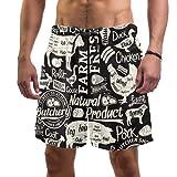 Vockgeng Shorts de Playa Cerdo Pollo Ganso Bañador de Secado rápido con Pantalones Cortos de Malla para Hombres XXL