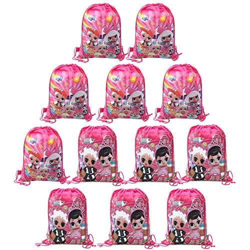 Bolsas con Cordón de LOL Bolsa Regalo,Bolsas de Muñeca Sorpresa 12 Unidades de Bolsas con Cordón,Mochila de LOL para Niños, Bomboneras para Fiestas de Cumpleaños,Suministros para Niños y Niñas