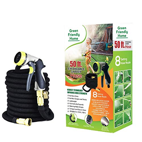 Garden Hose 50FT Flexible Expandable, GreenFriendlyHome Expanding Retracting Water Hose Strongest Hose Latex + Fabric, Solid Brass Fittings Metal Nozzle Best Portable Hose