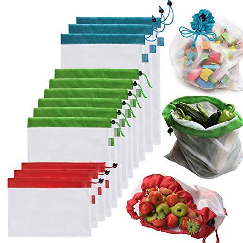 10 bolsas de almacenamiento reutilizables de malla para sándwich de frutas de doble costura, tamaño: 30 cm x 35 cm, color al azar.