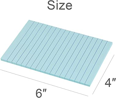 Lined Sticky Notes 4X6 in Pastel Ruled Post Stickies Colorful Super Sticking Power Memo Pads Its Strong Adhesive, 6 Pads/Pack
