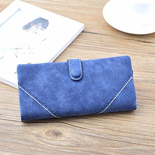 Die Weise Brieftasche von Frauen, Cozyswan der Ordner-Taste Leder Portemonnaie Handtasche der Frau Frauen Lange, Saphir (Gelb) - 002B