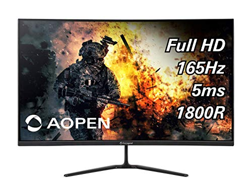 AOPEN 32HC5QR Pbiipx 31.5' 1800R Curved Full HD VA (1920 x 1080) 165Hz Gaming Monitor with AMD Radeon FREESYNC Premium Technology (Display Port and 2 x HDMI Ports), Black