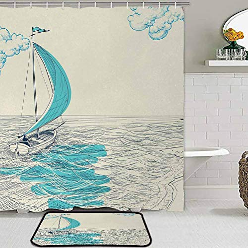 ParadiseDecor Kids Bathroom Sets with Shower Curtain and Rugs and Accessories Nautical,Sailing Boat Reflection Cloudy Sky Sandy Seaside Shoreline Hobby Water Sports,Aqua Beige Carpets for bedrooms