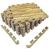 Amazon Brand - Umi - Losas de goma entrelazadas de 30 X 30 cm (set de 9) (set de 9 madera clara)
