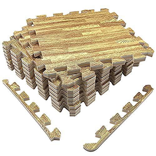 UMI. Essentials - Losas de Goma entrelazadas de 30 X 30 cm (Set de 9) (Set de 9 Madera Clara)