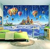大きなポスターの壁の装飾の壁画カスタム3Dウォールステッカー壁紙スタースカイキャッスル熱気球流星群子供部屋寝室不織布装飾壁紙-400cmx280cm(長いですx幅)