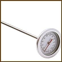 20 pouces 50cm Longueur 0℃-120℃ Thermomètre de sol à compost Détecteur de sonde de mesure en métal en acier inoxydable de ...