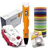 KreativKids 3D Stifte. 3D Stift + 20 Farben PLA Filament, [100 m]. 3D Druck Stift mit LCD Bildschirm, für Kinder und Erwachsene. PLA Filament [20 Farben x 5m Φ 1,75 mm]