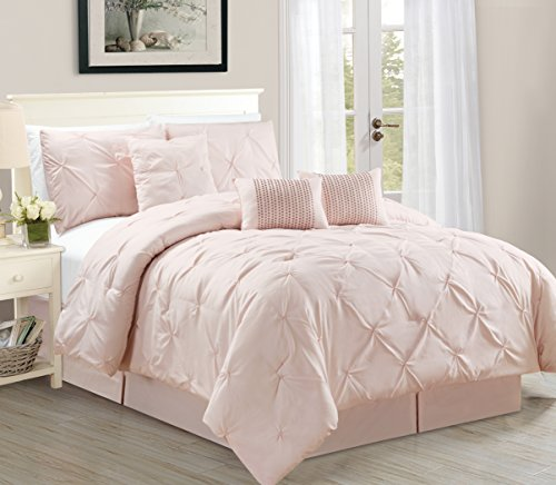 WPM 7 Piece Luxurious Pinch Pleat Decorative Pintuck Comforter Set, All Season Rose Bedding (Queen)