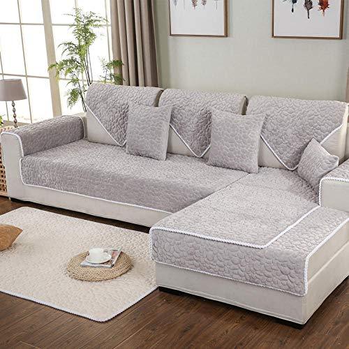 Suuki Cobblestone Plush Sofa Saver Cover, Fundas de Cojines de sofá Antideslizantes para Sala de Estar/Oficina, Funda de sofá Gruesa de Invierno-Gris_Los 90 * 260cm