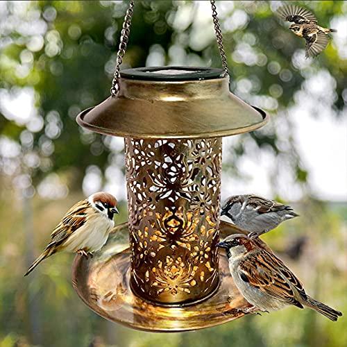 Solarenergie Vogelfutterspender,Realove Hängendes Vogelfutterhaus Wildvogel-Futterstaton zum Aufhängen Gartenlaterne Licht