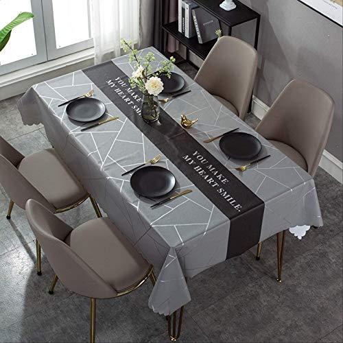 YALINA Mantel De Comedor De Alta Gama, Mantel De PVC Impermeable para Mesa De Comedor De Sala De Estar, Decoración De Mesa Rectangular 120 * 120 S201