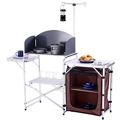 CampLand Folding Cooking Table Outdoor Portable Cook Station Aluminum Camping Kitchen with Storage...