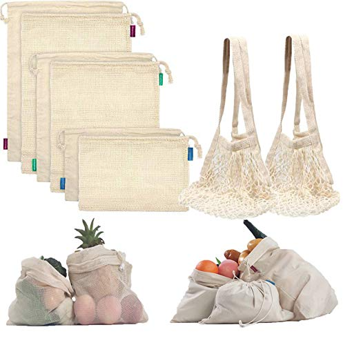 Reusable Produce Bags Organic Cotton Mesh Bags Muslin Bags with Drawstring Reusable Grocery Bag for Shopping amp Storage Washable Biodegradable Ecofriendly8 Pack