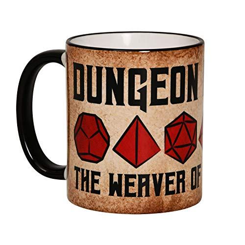 Elbenwald Tasse Dungeon Master Rundumdruck für RPG Gaming Fans 320ml Keramik braun