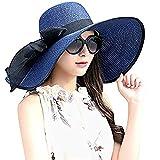 DRESHOW Mujer Ancha Sombrero de Paja Plegable Verano Sombrero de Sol Playa Viaje Vacaciones UPF 50+