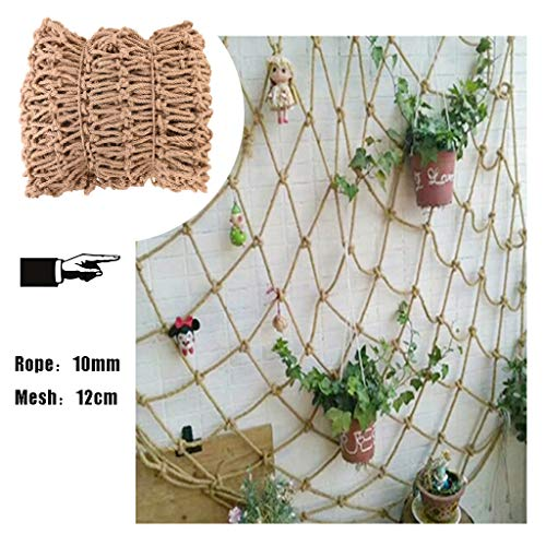 Climbing Net For Kids Netting for Plants/windows,Net Decoration Nautical Fish Net,Natural Jute Material,10mm/12cm,for Wall Decoration,Multiple Sizes (Size : 4x6m)