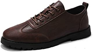 ZHANGLEI Leisure Oxford for Men Low Top Skate Shoes Lace up Microfiber Leather Solid Color Wear Resistant Rubber Sole Round Toe Anti-Skid (Color : Brown, Size : 8 UK)