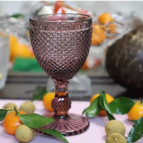 Copa de Vino, 300 ml Alivio Copas de vino Copillas Copa Retro Diamante Patrón de Jugo Licor Beber Tazas 10oz Bar Hogar Boda Copa de Vino (Capacity : 300ML 10oz, Color : Purple)