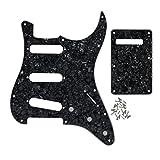 FLEOR Set de 11 agujeros SSS Style Pickguard y Tremolo Cavity Cover Placa posterior con tornillos para piezas de guitarra Fender Strat estándar de EE. UU./México, perla negra de 4 capas