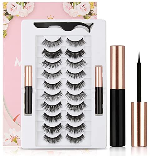 Cils magnétiques avec kit eyeliner imperméable, 10 styles faux cils naturellement réutilisables, Ensemble de cils longue durée 6D