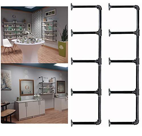 52 Tall5 Tier 2 pcs Industrial Retro Wall Mount Iron Pipe Shelf Hung Bracket DIY Storage Pipe Shelving Bookshelf