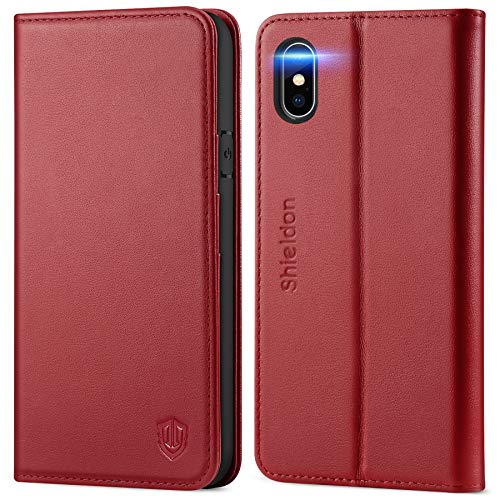 SHIELDON iPhone Xs Case, Genuine Leather iPhone Xs Wallet Case with Auto Sleep Wake Credit Card Holder, RFID Protective Magnetic TPU Shockproof Cover Compatible with iPhone Xs - Cherry Red