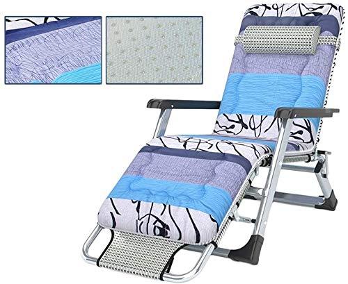 bh+ Terrassendeck im Freien Verstellbare Sonnenliege Wippe Schwerelosigkeit Sitz Garten Klapp Geeignet für Veranda Garten Deck Rasen Camping Tragbarer Stuhl Support200kg (Farbe: Blau)