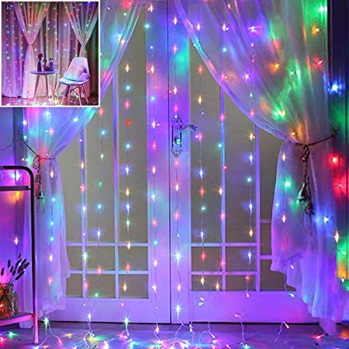 LED Curtain Lights, 3x3M 300 LED Window Curtain Fairy Twinkle Lights, USB Plug in Operated 8 Modes Icicle LED String Lights for Bedroom Indoor Outdoor Wedding Xmas Party Home Decoration(Multicolor)