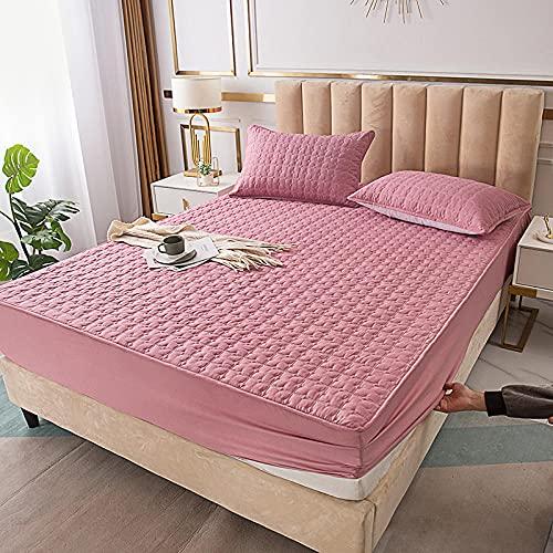 YFGY Spannbetttuch Bettlaken Betttuch Pink 90x200cm, massiver verdickter gesteppter Matratzenbezug und Kissenbezug, Spannbetttuch luftdurchlässig für Hotelwohnungen einzeln