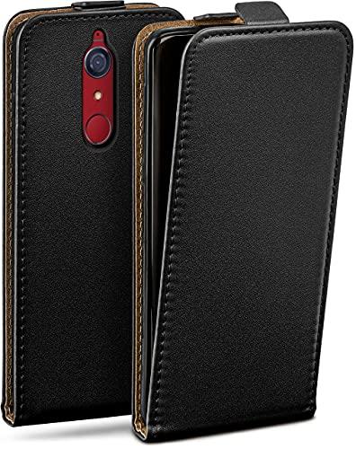 moex Flip Hülle für Wiko View XL Hülle klappbar, 360 Grad R&um Komplett-Schutz, Klapphülle aus Vegan Leder, Handytasche mit vertikaler Klappe, magnetisch - Schwarz