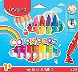 Maped Color'Peps Gros Feutres de Coloriage Premier âge pour Bébé et Enfant dès 1 an avec Pointe Sécurisée et Encre Lavable à l'eau - Boîte de 24 Feutres Jumbo Assortis