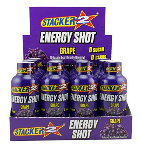 Stacker 2 Energy Shots Grape Flavor 2oz. Shots (24 Bottles)