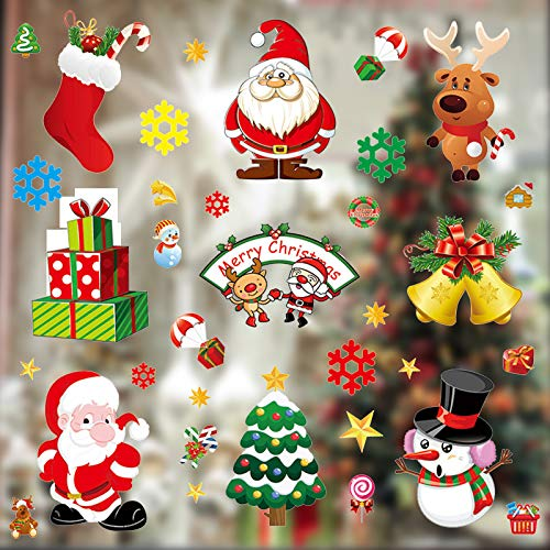 ManLee 10 Pcs Reusable Christmas Window Stickers Decorations Removable Christmas Snowflakes Window Clings Santa Reindeer Christmas Window Decals for Christmas Decorations for Home Store Coffee