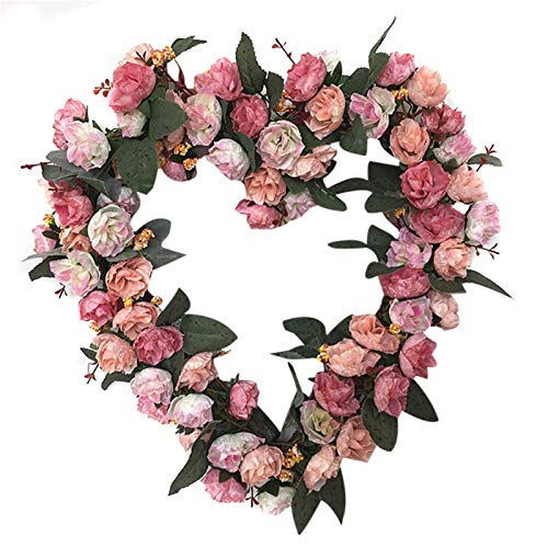 Jiaojie Vintage Art Simulation Rose Flowers Wreath 36cm Heart Shaped Valentine's Day Garland for Door Home Party Wedding Decor